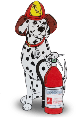 A Dalmatian next to a fire extinguisher, the logo of fire extinguisher service Apartment Fire Extinguisher Service, Inc. in Jacksonville, FL