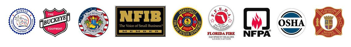 Logos of several business affiliates of fire extinguisher service Apartment Fire Extinguisher Service, Inc. in Jacksonville, FL