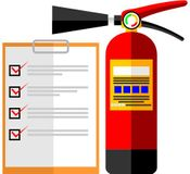 A fire extinguisher and a checklist representing services of Apartment Fire Extinguisher Service, Inc. in Jacksonville, FL