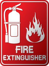 A fire extinguisher sign representing the fire protection products offered by Apartment Fire Extinguisher Service, Inc. in Jacksonville, FL
